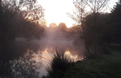 Lever de soleil avec brouillard sur le parcours